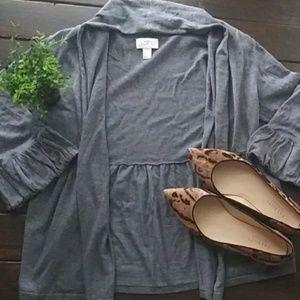 LOFT Grey Draped Peplum Ruffle Cardigan Size Small
